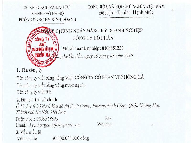 giấy chứng nhận thành lập công ty trong nước
